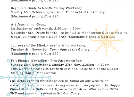 Our Provisional Autumn Workshop List