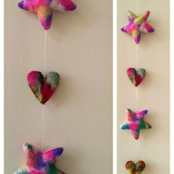 Heart and Stars hand felted mobile, made with tye dyed multi coloured felt.