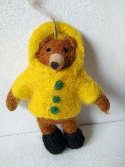 felt bear in coat