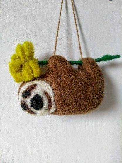 felt brown sloth with flower