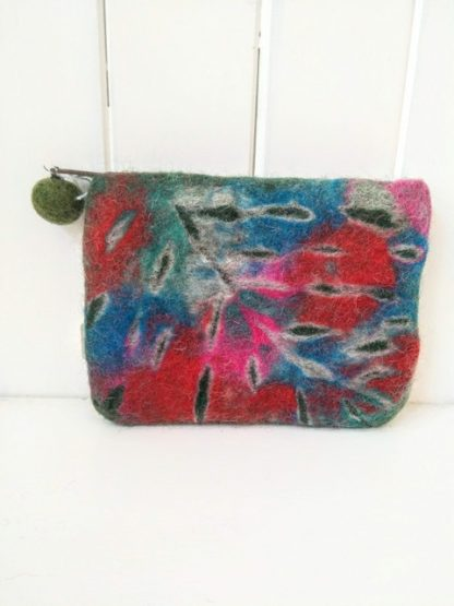 felt leaf purse dark green