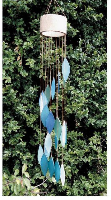 leaves aqua wind chimes
